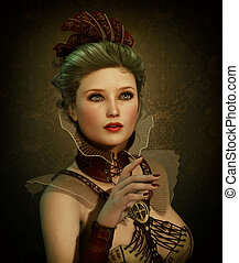steampunk, menina, moda, cg, 3d