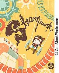steampunk, menina, mundo, ilustração, criança