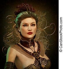 steampunk, moda, senhora, cg, 3d