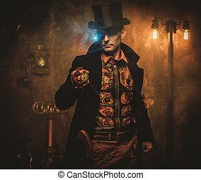 steampunk, montre, poche, fond, vendange, homme