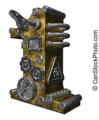 number one - steampunk number one on white background - 3d...