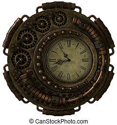 steampunk, orologio, 3d, cg