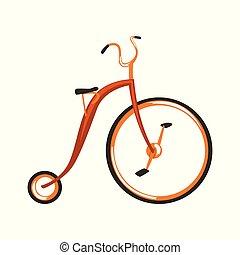 steampunk, ouderwetse , fiets, vector, illustratie, op, een, witte achtergrond