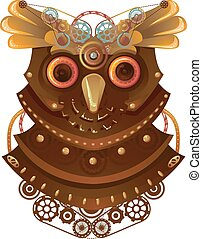 Steampunk Owl - Steampunk Illustration of a Metallic Owl...