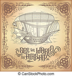 steampunk poster, illustration of a fantastic wooden flying...