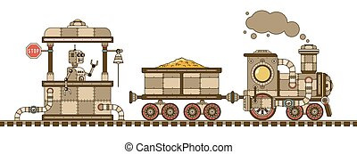 Steampunk retro train with a gold wagon, station and robot. ...