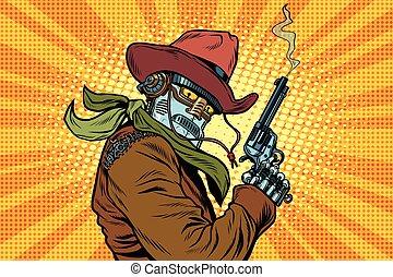 steampunk, robô, boiadeiro, com, fumar, após, despedir, um,...