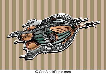 steampunk rocket. Vector illustration