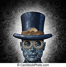 Steampunk science fiction concept as a fantasy mechanical human head made of gears and cogs wearing a historical victorian retro top hat as a technology symbol of futuristic fictional machine hybrid.