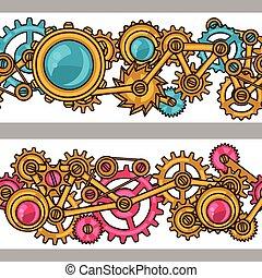 steampunk, seamless, patrón, de, metal, engranajes, en,...