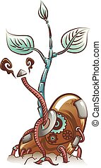 Steampunk Seedling - Steampunk Illustration of a Seedling...