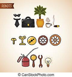 steampunk, set, icone tecnologia