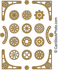 Steampunk - set of retro styled gear wheels