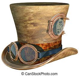 steampunk, sombrero, y, gafas de protección