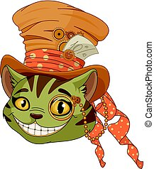 steampunk, sommet, cheshire, chapeau, chat