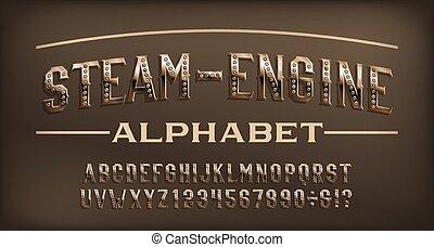 steampunk, steam-engine, rivet, numbers., font., alphabet, rouillé