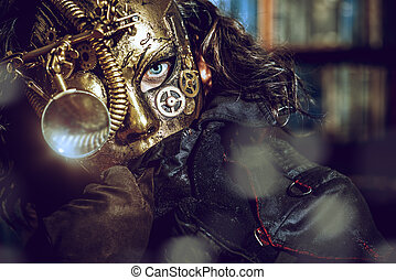steampunk - Steampunk man wearing mask with various ...