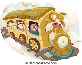 steampunk, stickman, geitjes, trein