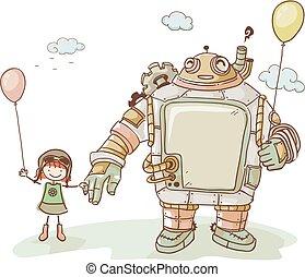 Steampunk Stickman Kid Girl Robot Friend