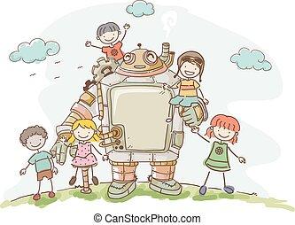 Steampunk Stickman Kids Robot Friend