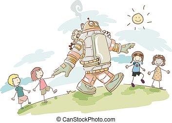 Steampunk Stickman Kids Robot Walk