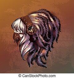 steampunk, stijl, jonge vrouw , verticaal