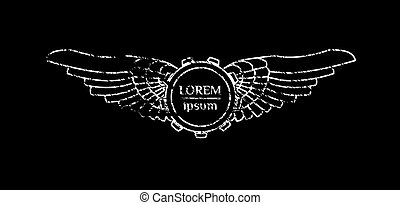 Steampunk style abstract emblem with gear and wings. Text is...