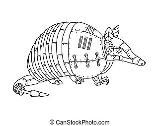 Steampunk style armadillo coloring book vector - Steampunk...