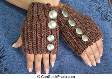 Steampunk Style Fingerless Gloves - Woman's hands wearing...