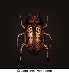 Steampunk style mechanical beetle