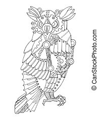 Steampunk style owl coloring book vector