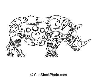 steampunk, style, rhinocéros, livre coloration, vecteur