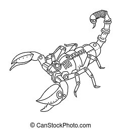 Steampunk style scorpio coloring book vector - Steampunk...