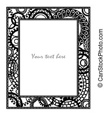 Steampunk style. Template design for card.