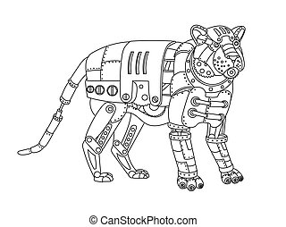 Steampunk style tiger coloring book vector