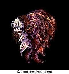 Steampunk style yoyng woman portrait