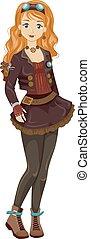 Steampunk Teen Girl - Illustration of a Teen Girl Wearing...