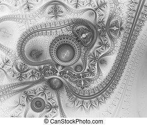 Steampunk. Time machine. Futuristic mechanic engine. Blue fractal time machine, digital artwork for creative graphic