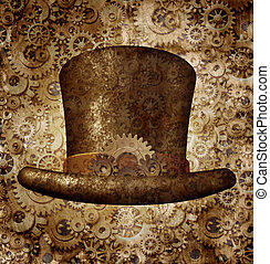 Steampunk Top Hat - Steampunk top hat as a science fiction...
