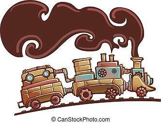 Steampunk Illustration of a Locomotive Train Spouting Thick Brown Smoke