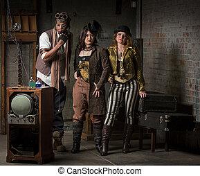 Steampunk Trio - Three Young Diverse Steampunks in Retro...