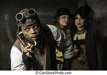 Steampunk Trio - Steam Punks in Underground Lair with Retro...