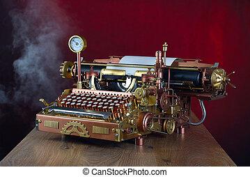 Steampunk Typewriter. - Steampunk style future Typewriter. ...