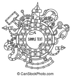 Steampunk vector illustration with industrial technical elements