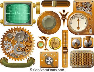 steampunk, vitoriano, elementos, desenho