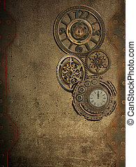 steampunk wall with clock and metal wall