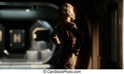 Steampunk woman in futuristic space ship