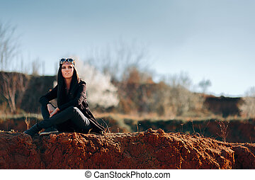 Steampunk Woman in Post Apocalyptic Arid Landscape