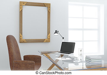Steampunk wooden picture frame in modern light office room with glassy table and laptop, mock up