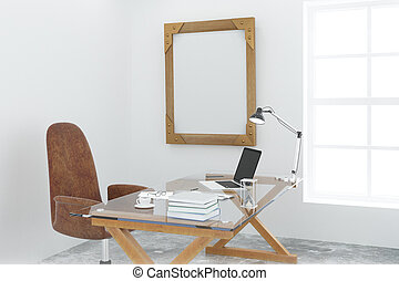 Steampunk wooden picture frame on white wall in loft room with modern furniture, mock up